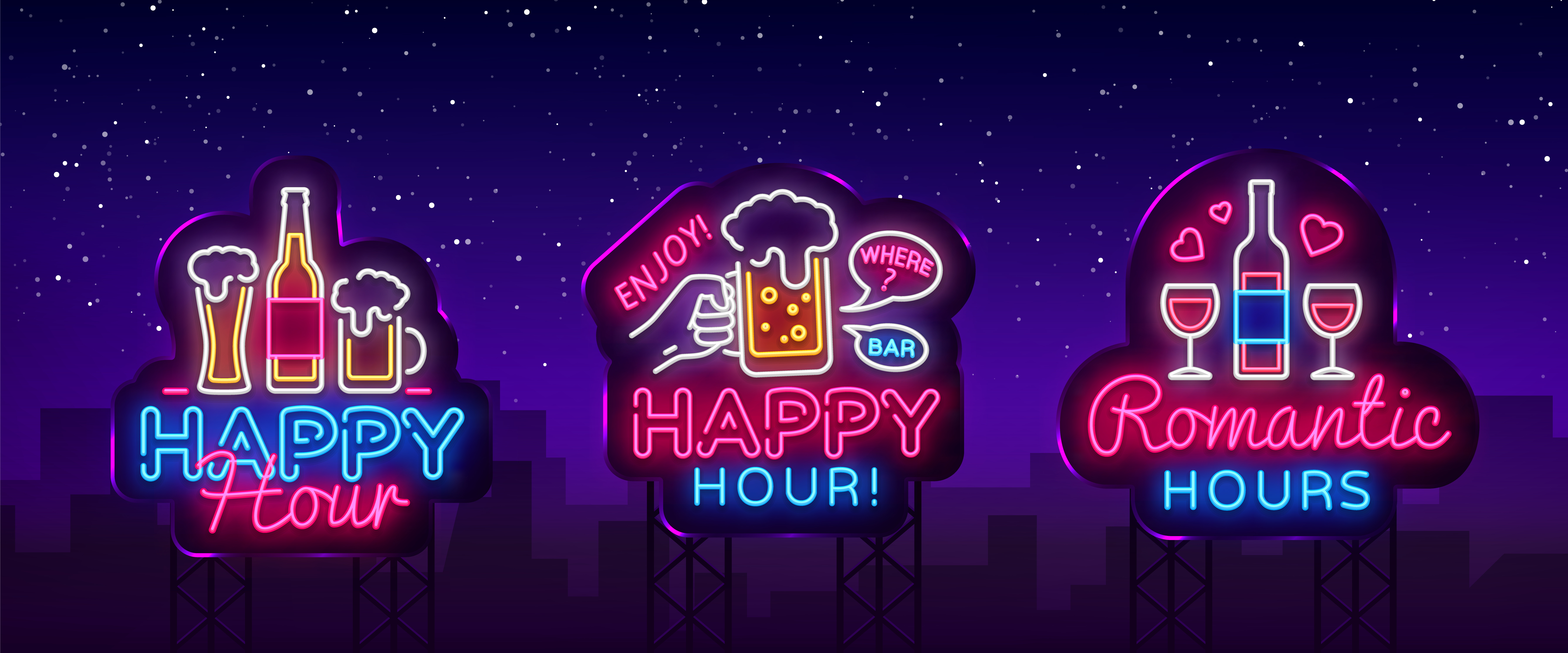 Happy Hour neon sign collection vector. Happy Hour Design template neon sign, Night Dinner, celebration light banner, neon signboard, nightly bright advertising, light inscription. Vector Billboards